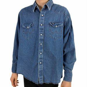 Wrangler Vtg 90s Boyfriend Denim Jean Shirt  M/L